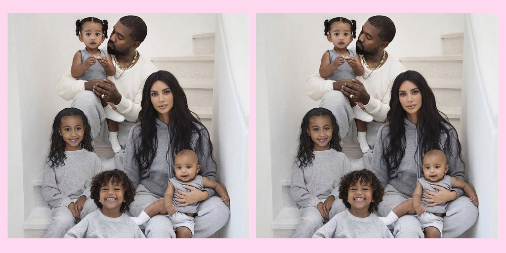 kim kardashian west foto familiar kanye hijos escalera pants gris