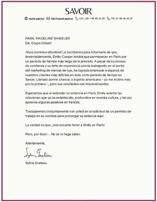 Carta ¡Confirman temporada 2 de 'Emily in Paris'!