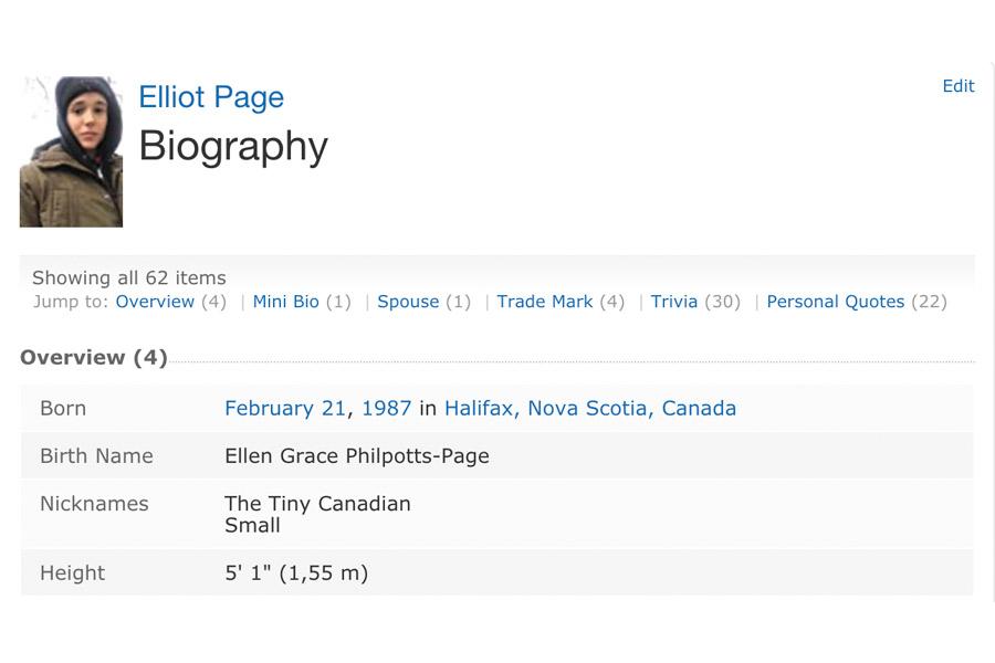 IMDB Elliot Page