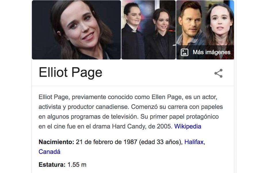 Elliot Page Google reacciones