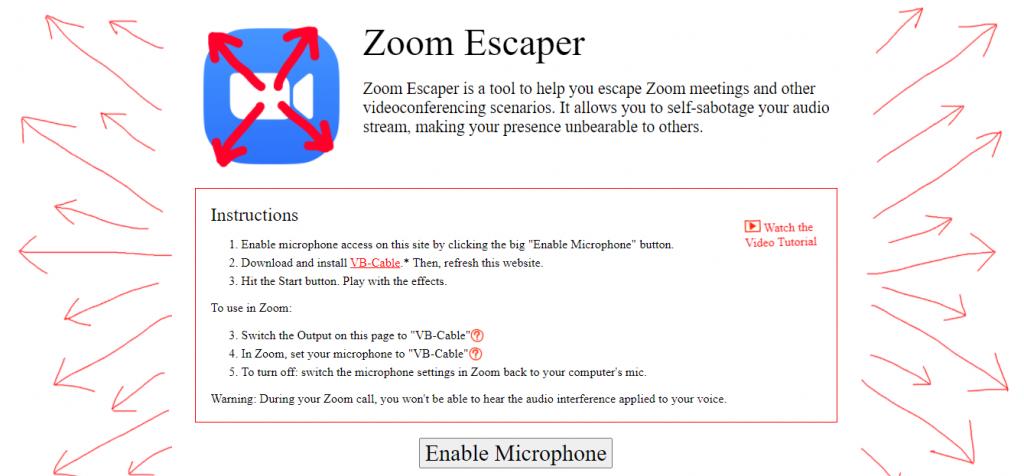 Zoom Escaper sitio ofical