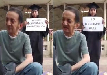 """""""Lo logramos, papá"""": joven recién graduada sorprende a su papá bolero en su trabajo"""