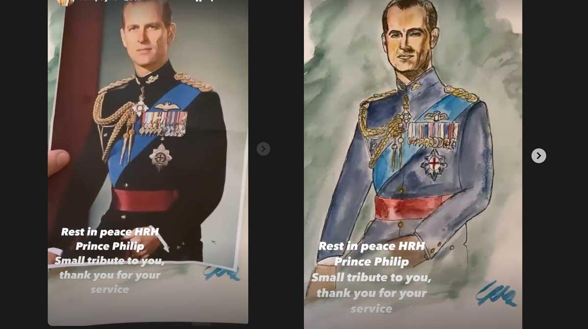 Liam Payne pinta un retrato del príncipe Felipe de Edimburgo como homenaje