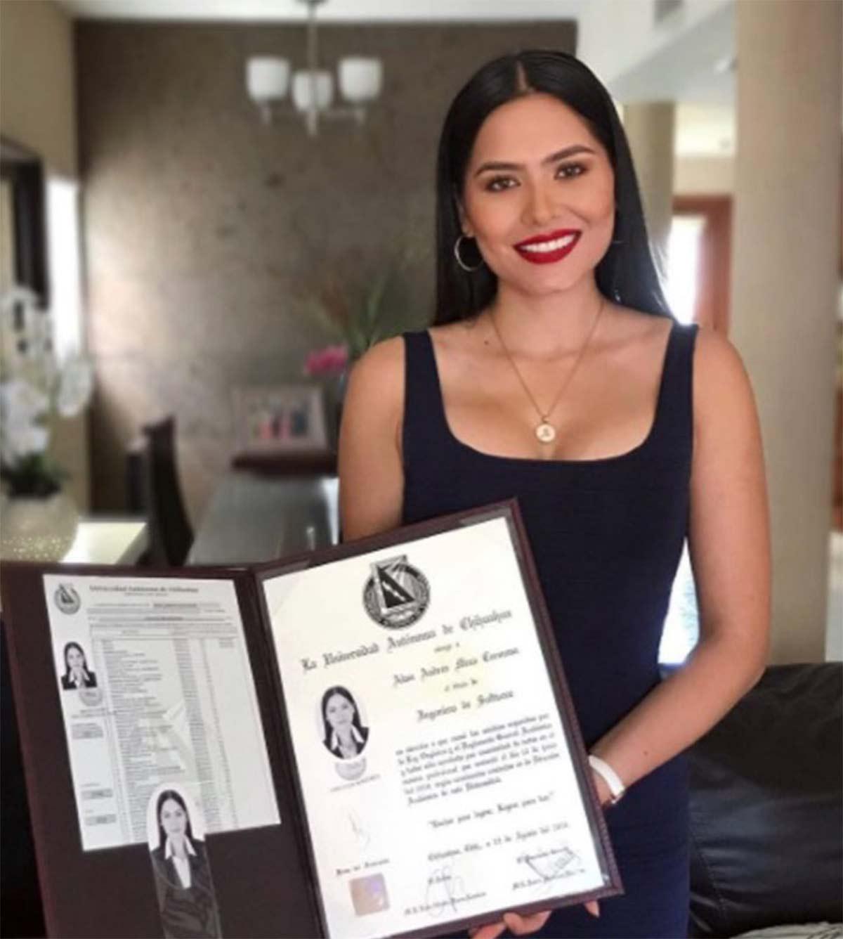 Andrea Meza presume su otra corona: su título como ingeniera con mención honorífica