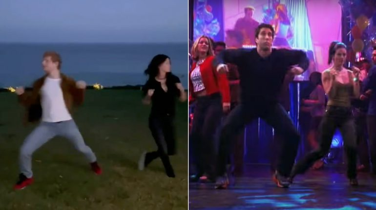 Courteney Cox y Ed Sheeran Cox vuelven locos a friends con baile de Ross y Monica en Friends