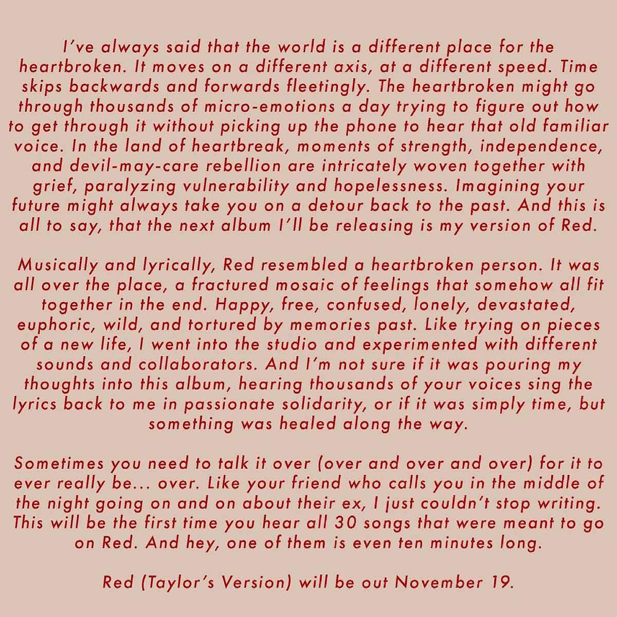 Taylor Swif anuncio disco Red
