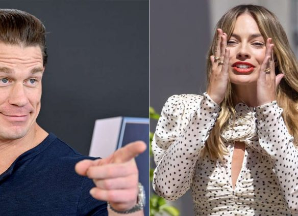 Margot Robbie confiesa que durmió con un cartón de tamaño rea de John Cena durante 2 años