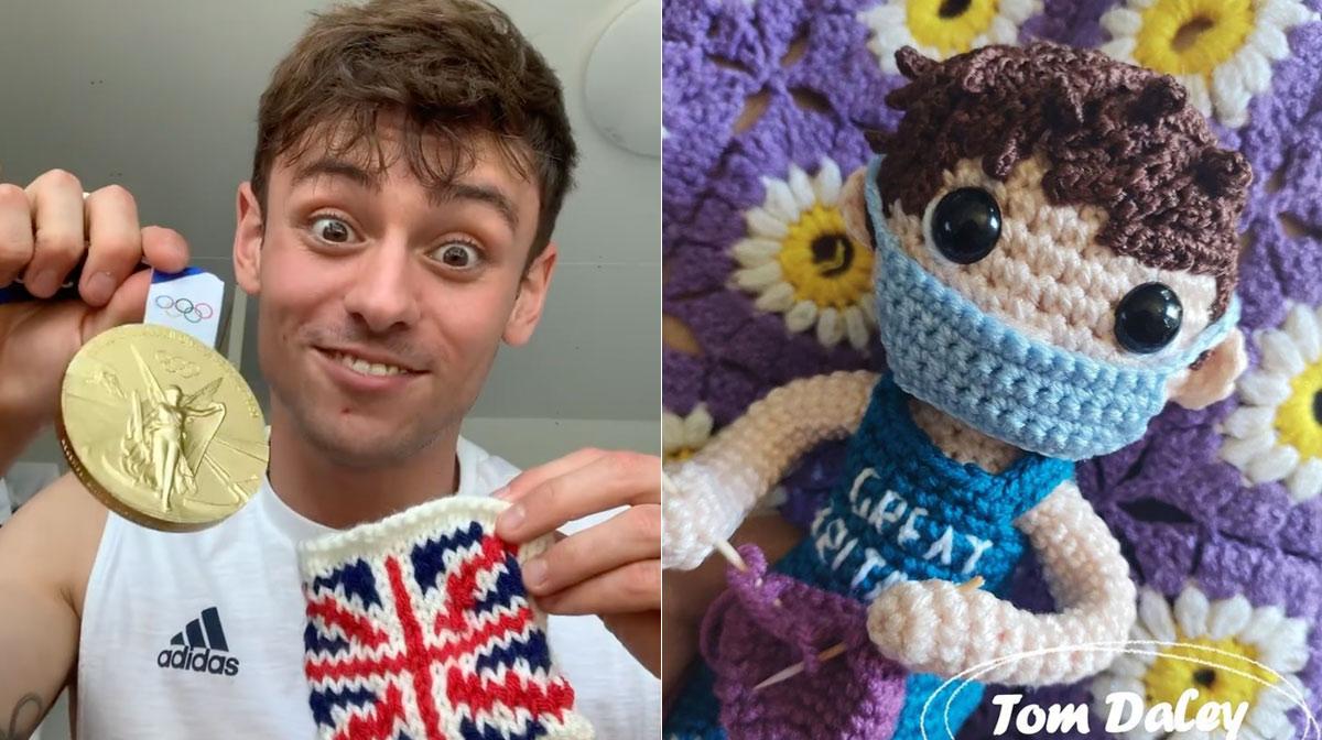 Tom Daley, el clavadista tejedor, agradece a mexicana por tejer muñequito de él